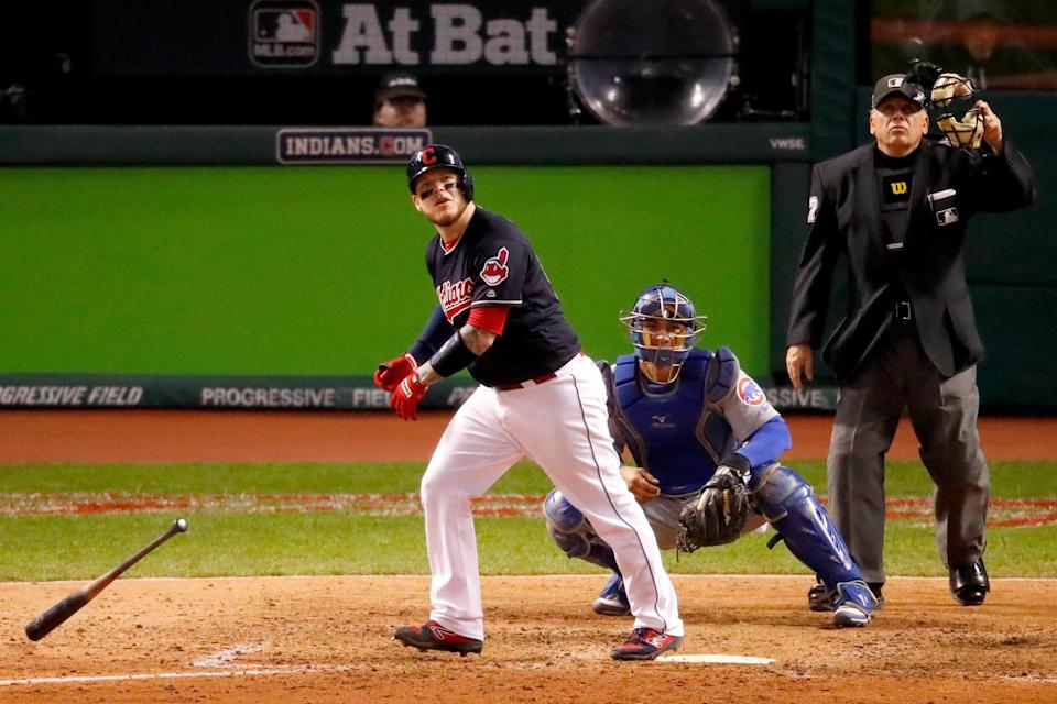 Roberto Perez hitting one of his two Game 1 homers. (Getty Images)