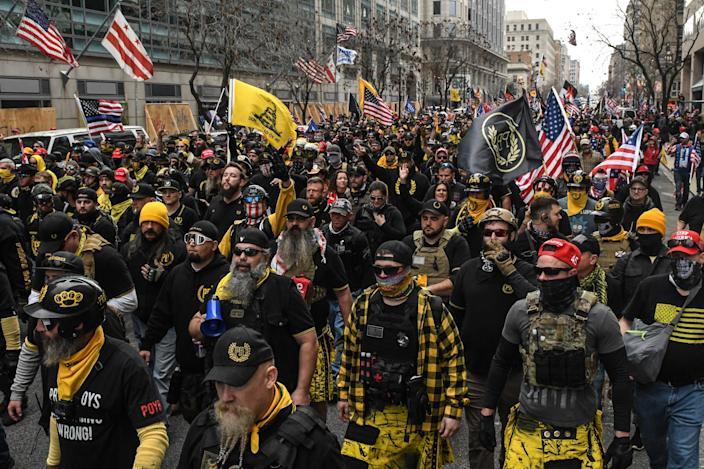 <p>Proud Boys leader admits burning Church's Black Lives Matter sign</p> (Photo by Stephanie Keith/Getty Images)