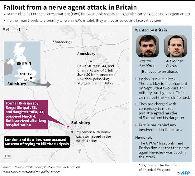 A nerve agent was used in the attack in Salisbury, southern England, in March 2018 (AFP Photo/Laurence CHU)