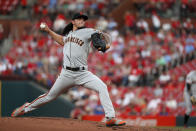 San Francisco Giants starting pitcher Dereck Rodriguez throws during the first inning of the team's baseball game against the St. Louis Cardinals on Tuesday, Sept. 3, 2019, in St. Louis. (AP Photo/Jeff Roberson)
