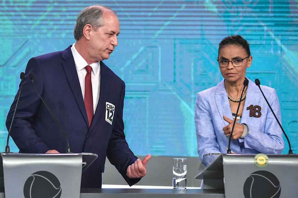 Brazilian presidential candidates Ciro Gomes (PDT) and Marina Silva (Rede) speaks during the presidential debate ahead of the October 7 general election at Record television network, in Sao Paulo Brazil on September 30 2018. (Photo by NELSON ALMEIDA / AFP)        (Photo credit should read NELSON ALMEIDA/AFP via Getty Images)