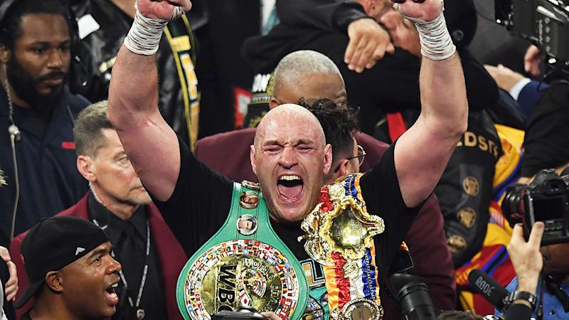 Seen here, Tyson Fury celebrates his win against Deontay Wilder in their Las Vegas rematch.