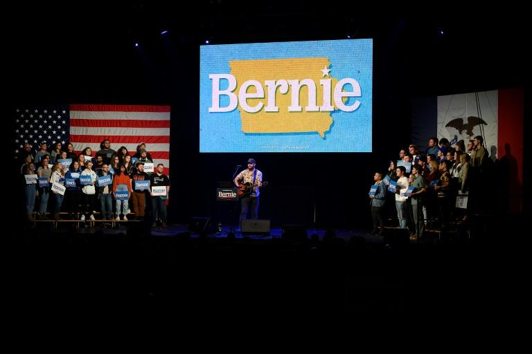 Justin Vernon, lead singer of indie folk band Bon Iver, performs at a rally for Bernie Sanders in Clive, Iowa, on January 31