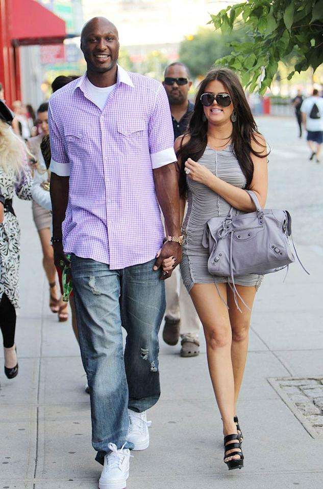 "Kim's sister Khloe also has a thing for men in sports uniforms. After a whirlwind courtship, she married LA Lakers star Lamar Odom in September 2009. Turgeon/Steffman/<a href=""http://www.splashnewsonline.com"" target=""new"">Splash News</a> - July 4, 2010"