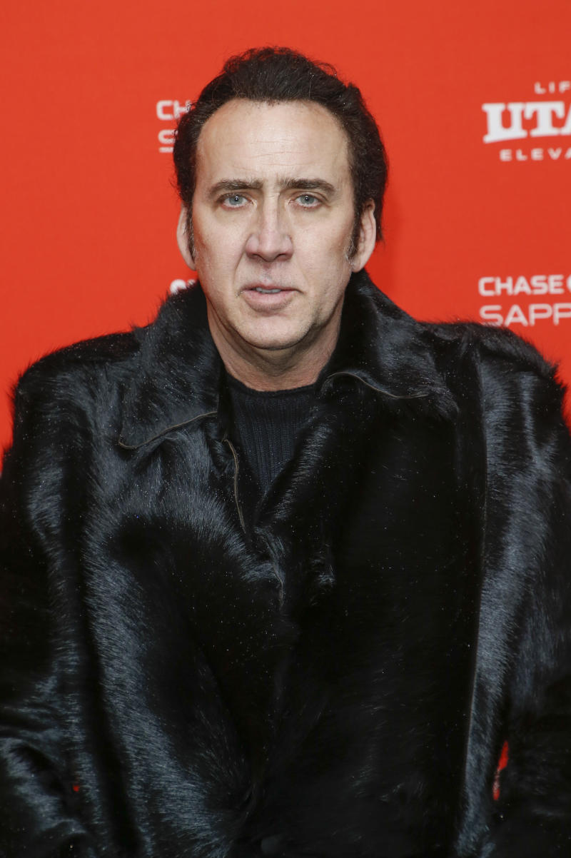 """Actor Nicolas Cage poses at the premiere of """"Mandy"""" during the 2018 Sundance Film Festival on Friday, Jan. 19, 2018, in Park City, Utah. (Photo by Danny Moloshok/Invision/AP)"""