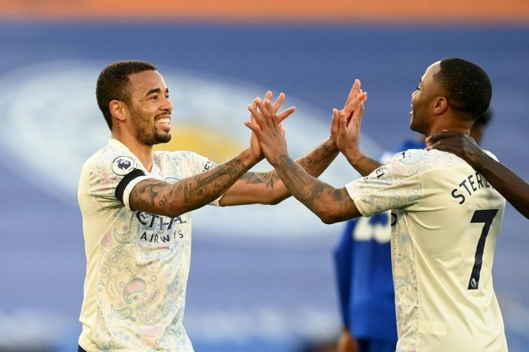 Sweet 17: Gabriel Jesus (left)was on target as Manchester City moved 17 points clear at the top of the Premier League