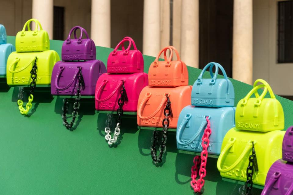 Furla's Re-Candy bags celebrating the 10th anniversary of the accessory, done in sustainable materials for a new capsule. - Credit: Courtesy of Furla