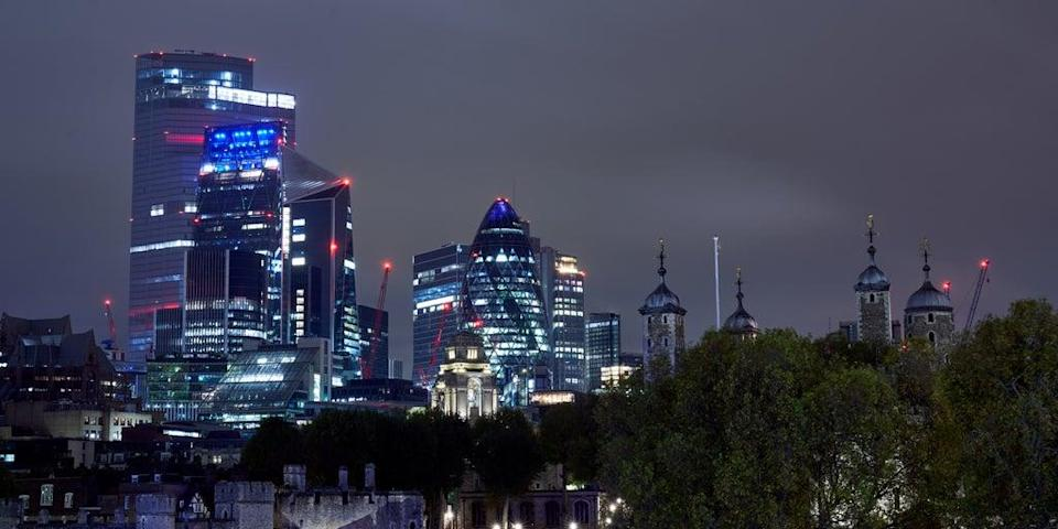 Looking across to the square mile financial district. London stocks fell back on Friday (John Walton/PA) (PA Archive)