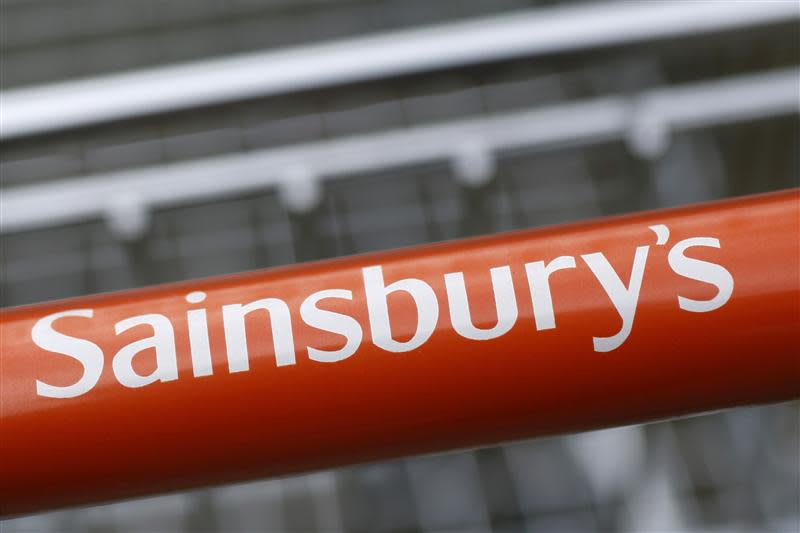 A trolley at a Sainsbury store is seen in London