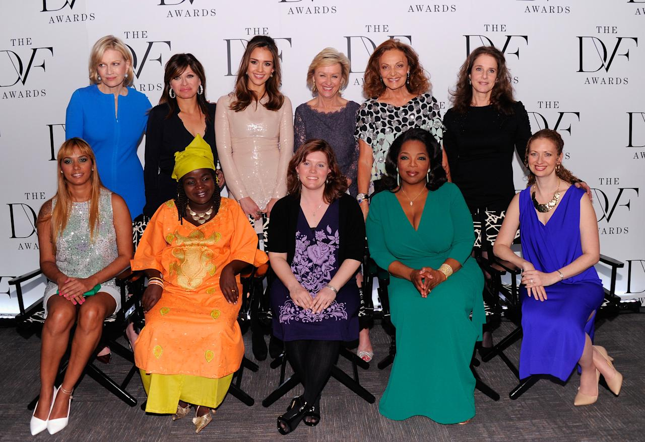 NEW YORK, NY - MARCH 09:  (L-R top row) Diane Sawyer, Maria Bartiromo, Jessica Alba, Tina Brown, Diane von Furstenberg, Debra Winger, (L-R bottom row) Panmela Castro, Chouchou Namegabe, Jaycee Lee Dugard, Oprah Winfrey and Layli Miller-Muro attend the 3rd annual Diane Von Furstenberg awards at the United Nations on March 9, 2012 in New York City.  (Photo by Andrew H. Walker/Getty Images)