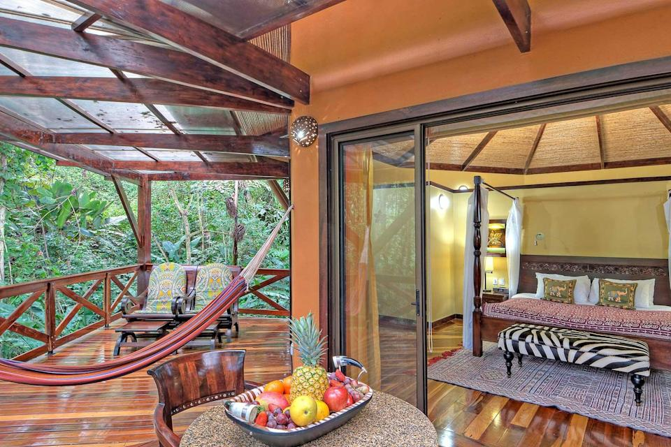 Guest room with terrace at Nayara Gardens, voted one of the best hotels in the world