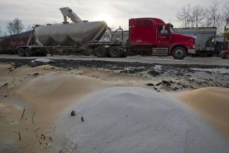 A truck is filled with sand at Wellsboro & Corning Railroad in Wellsboro, Pennsylvania