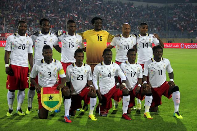 FILE- In this Nov. 19, 2013 file photo, Ghana soccer team poses prior to the start the World Cup qualifying soccer match between Egypt and Ghana at the Air Defense Stadium in Cairo, Egypt. Background from left: Kwadwo Asamoah, Michael Essien, Rashid Sumaila, Fatau Dauda, Andr Ayew and Jerry Akaminko. Foreground from left: Asamoah Gyan, Harrison Afful, Daniel Opare, Majeed Waris and Sulley Muntari. (AP Photo/Ahmed Gomaa, File)
