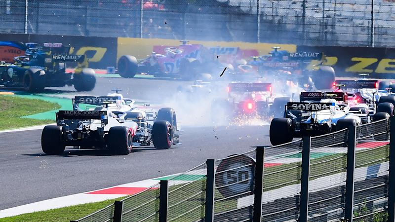 Drivers, pictured here crashing during the Tuscany Formula One Grand Prix.