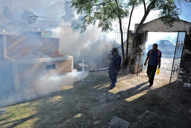 Workers spray chemicals to eliminate breeding sites of the Aedes Aegypti mosquito