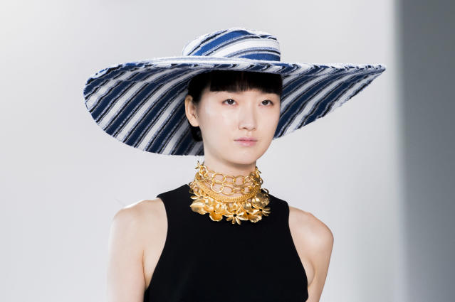 <p><i>Blue-and-white-striped hat from the SS18 Christian Siriano collection. (Photo: ImaxTree) </i></p>