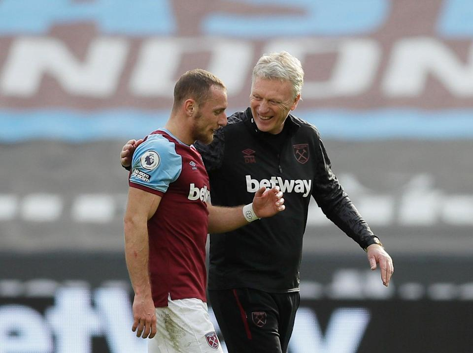 West Ham defender Vladimir Coufal with coach David Moyes (Getty Images)