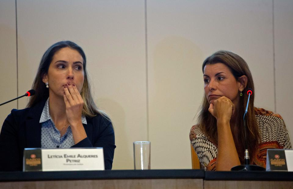 Brazilian Prosecutors of the Special Action Group on Combating Organized Crime (GAECO/MOPRJ) of the Rio de Janeiro state Public Ministry, Leticia Petriz (L) and Simone Sibilio deliver a press conference on the murder investigation of Brazilian slain councilwoman Marielle Franco at the Public Ministry's headquarters in Rio de Janeiro, Brazil, on October 30, 2019. (Photo by MAURO PIMENTEL / AFP) (Photo by MAURO PIMENTEL/AFP via Getty Images)