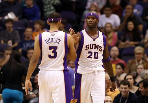 PHOENIX, AZ - NOVEMBER 21: Jermaine O'Neal #20 of the Phoenix Suns high fives Jared Dudley #3 after scoring against the Portland Trail Blazers during the NBA game at US Airways Center on November 21, 2012 in Phoenix, Arizona. The Suns defeated the Trail Blazers 114-87. (Photo by Christian Petersen/Getty Images)
