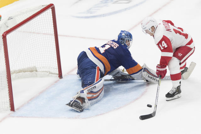 New York Islanders goaltender Thomas Greiss (1) makes a save against Detroit Red Wings right wing Gustav Nyquist (14) during a shootout of an NHL hockey game, Saturday, Dec. 15, 2018, in Uniondale, N.Y. (AP Photo/Mary Altaffer)
