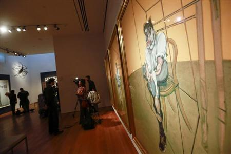 """Artist Francis Bacon's """"Three Studies of Lucian Freud"""" is seen during a media preview at Christie's Auction House in New York"""