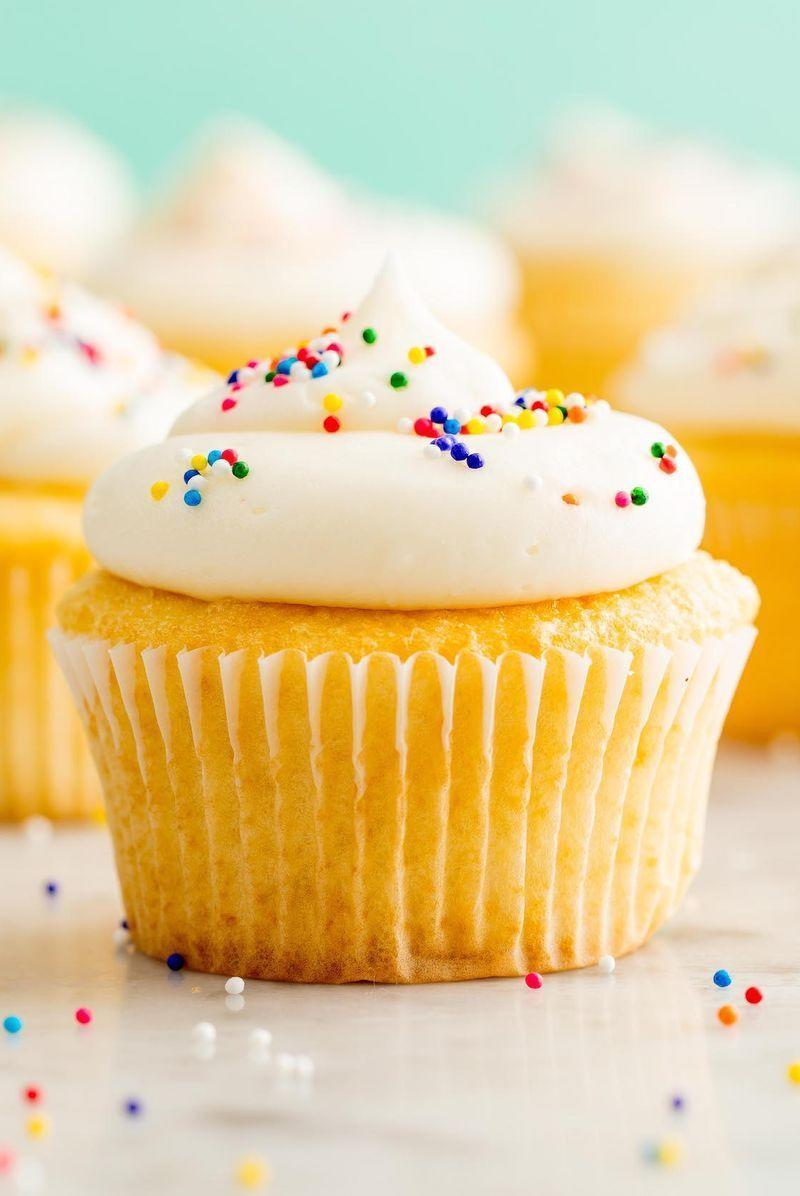 "<p>Cupcakes this perfect deserve our Perfect Vanilla Buttercream.</p><p>Get the <a href=""http://www.delish.com/uk/cooking/recipes/a28829469/perfect-vanilla-cupcakes-recipe/"" rel=""nofollow noopener"" target=""_blank"" data-ylk=""slk:Perfect Vanilla Cupcakes"" class=""link rapid-noclick-resp"">Perfect Vanilla Cupcakes</a> recipe. </p>"