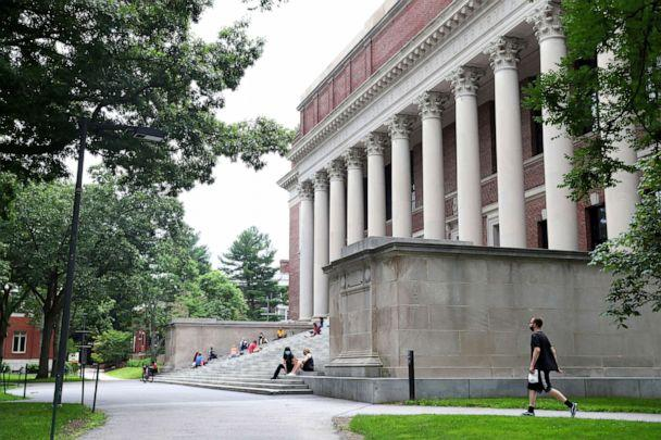 PHOTO: A view of Harvard Yard on the campus of Harvard University is shown on July 8, 2020, in Cambridge, Mass. (Maddie Meyer/Getty Images)
