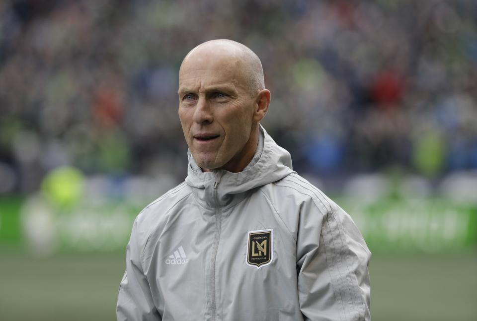 LAFC and coach Bob Bradley could win the Western Conference title in the club's maiden season. (AP Photo/Ted S. Warren)