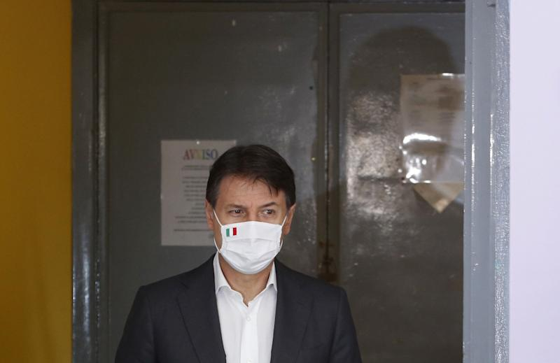 ROME, ITALY, SEPTEMBER 20: Italian Prime Minister, Giuseppe Conte arrives at a poll station to vote in the constitutional referendum on the reduction of lawmakers in Rome, Italy, on September 20, 2020. Italians are called to vote in a referendum initially scheduled on last March, then scheduled due to the Covid-19 pandemic, on whether to confirm a constitutional reform that would amend the Constitution to reduce the number of seats from 630 to 400 in the Chamber of Deputies and from 315 to 200 in the Senate. Eighteen million of citizens are also called to choose governors in seven regions, including the storically left-oriented Tuscany, as well as a thousand of municipalities. (Photo by Riccardo De Luca/Anadolu Agency via Getty Images) (Photo: Anadolu Agency via Getty Images)