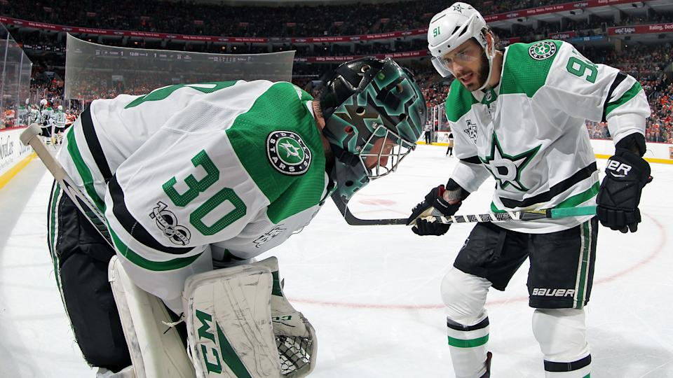 Tyler Seguin and Ben Bishop of the Dallas Stars face lengthy recoveries from injuries sustained during the 2020 Stanley Cup Playoffs.  (Len Redkoles/NHLI via Getty Images)