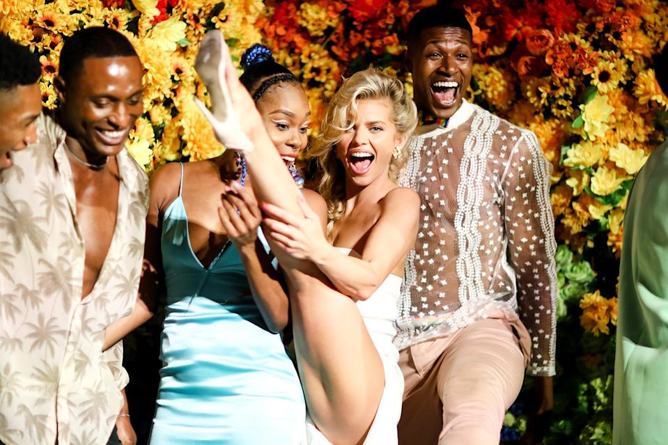 <p>Ebony Williams, AnnaLynne McCord and Lewis Alexander pose together at Alice + Olivia's Prom Celebration for Pride at the Parrish Art Museum in Water Mill, New York, on June 24, where guests sipped Casamigos cocktails.</p>