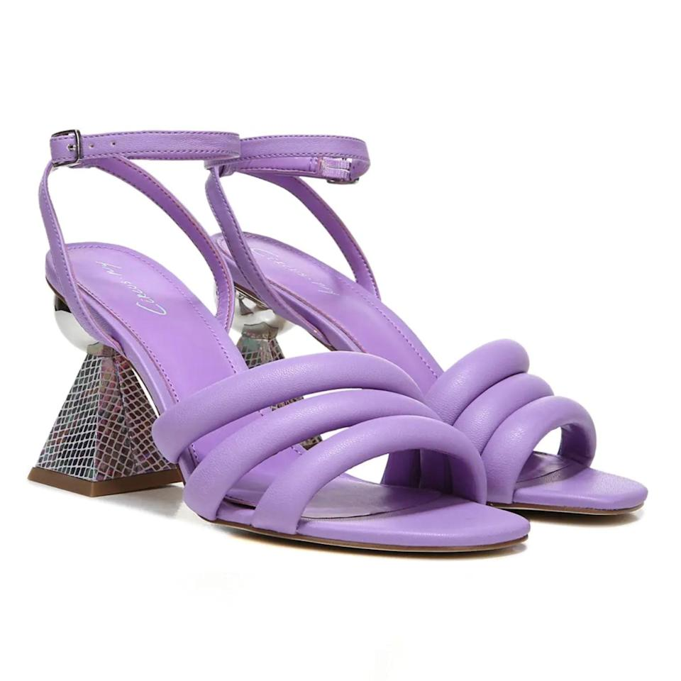 """The eye-catching geometric heel on these strappy sandals will be the cherry on top of your wedding ensemble. $89, Zappos. <a href=""""https://www.zappos.com/p/circus-by-sam-edelman-bobbie-orchid-lilac/product/9499462/color/501977"""" rel=""""nofollow noopener"""" target=""""_blank"""" data-ylk=""""slk:Get it now!"""" class=""""link rapid-noclick-resp"""">Get it now!</a>"""