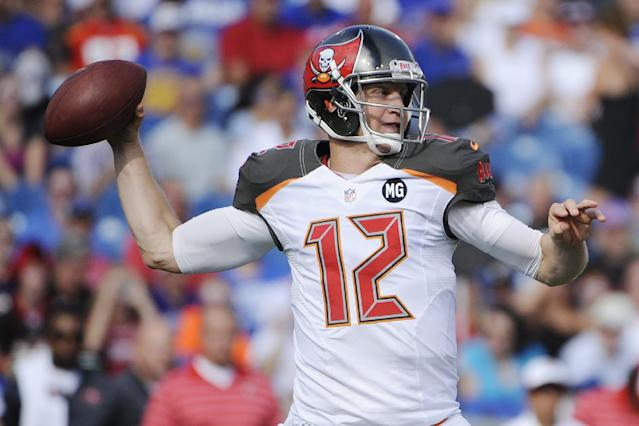 Tampa Bay Buccaneers quarterback Josh McCown (12) throws a pass during the first half of a preseason NFL football game against the Buffalo Bills, Saturday, Aug. 23, 2014, in Orchard Park, N.Y. (AP Photo/Gary Wiepert)
