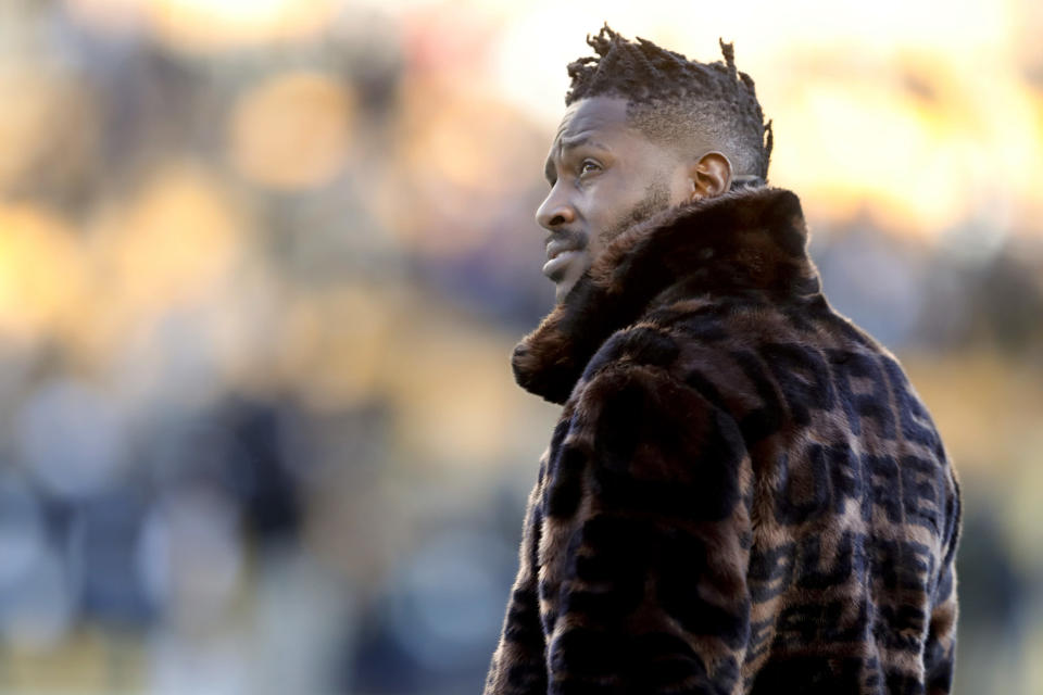 Pittsburgh Steelers wide receiver Antonio Brown is on the trade block after his actions in Week 17 last season. (AP)Pittsburgh Steelers wide receiver Antonio Brown is on the trade block after his actions in Week 17 last season. (AP)