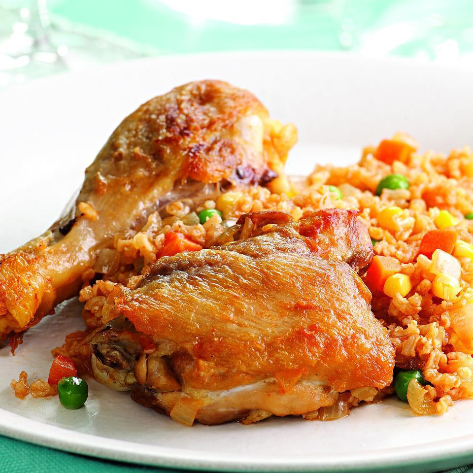 <p>Arroz con pollo, or chicken cooked with rice, is a common dish in Spain, Latin America and the Caribbean. We use quick-cooking brown rice here to help you get this on the table in just 40 minutes. Serve with a mixed green salad tossed with cilantro-lime vinaigrette.</p>