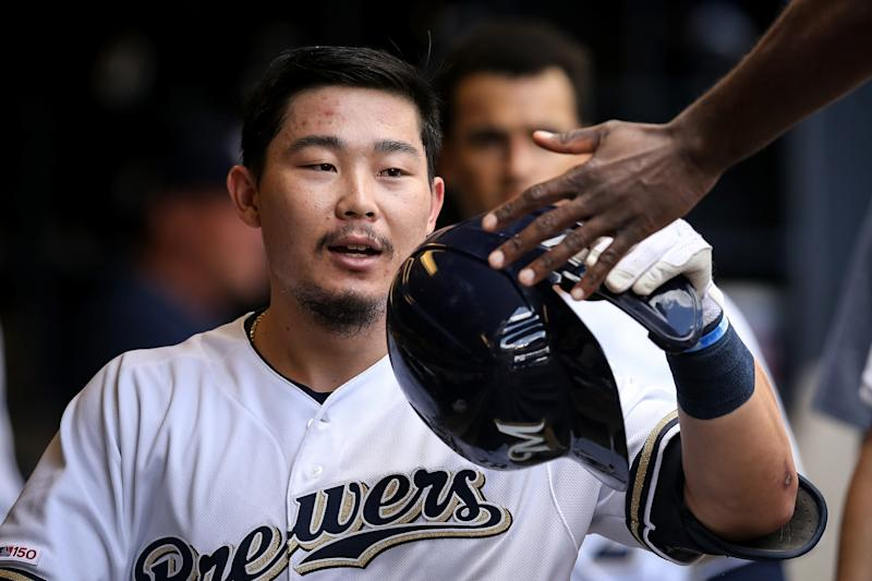 Brewers standout rookie Keston Hiura could miss the rest of the regular season with a hamstring injury. (Photo by Dylan Buell/Getty Images)
