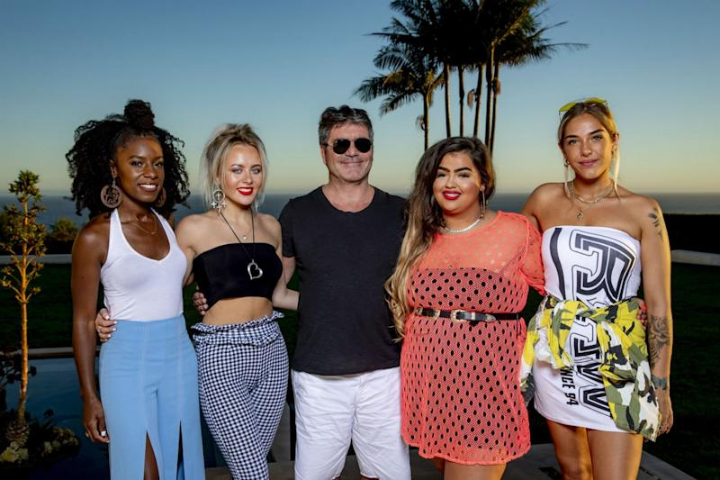 The Girls: Simon Cowell with Molly Scott, Shan, Bella Penfold and Scarlett Lee: Syco / Thames
