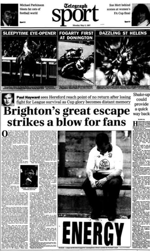 <span>Twenty years ago Paul Hayward reported from Edgar Street on Brighton's escape</span> <span>Credit: THE TELEGRAPH </span>