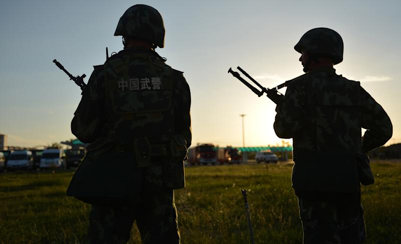 File photo of Chinese police conducting an anti-terrorism drill in Hami, Xinjiang region, where rights groups and analysts accuse Beijing of cultural and religious repression against the mostly Muslim Uighur minority (AFP Photo/)
