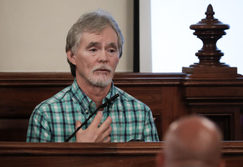 Dana Bobo, father of Holly Bobo, testifies in the trial of Zachary Adams on Sept. 11, 2017, in Savannah, Tenn. Holly Bobo, a 20-year-old nursing student, disappeared from her home in Parsons, Tenn. on April 13, 2011, and Adams is charged with her kidnapping, rape and murder. (AP Photo/Mark Humphrey, Pool)