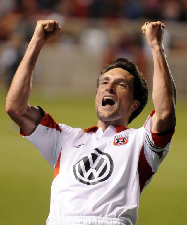 D.C. United's John Thorrington celebrates after the United defeated Real Salt Lake 1-0 in the U.S. Open Cup of Soccer final, Tuesday, Oct. 1, 2013, in Sandy, Utah. (AP Photo/Deseret News, Matt Gade)