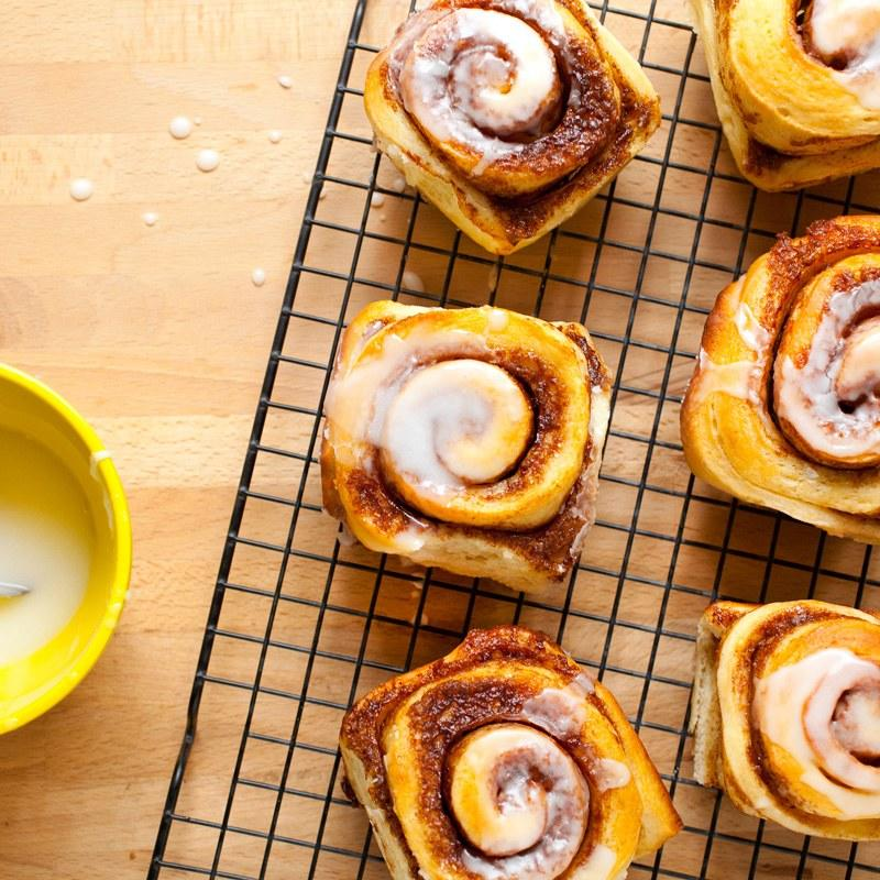 """This enriched yeast dough is a snap to make in a stand mixer and even easier to shape into decadent, delicious cinnamon rolls. Best of all, the rolls can be baked ahead and reheated for a fresh-from-the-oven breakfast treat. <a href=""""https://www.epicurious.com/recipes/food/views/cinnamon-rolls-with-icing-51160400?mbid=synd_yahoo_rss"""">See recipe.</a>"""