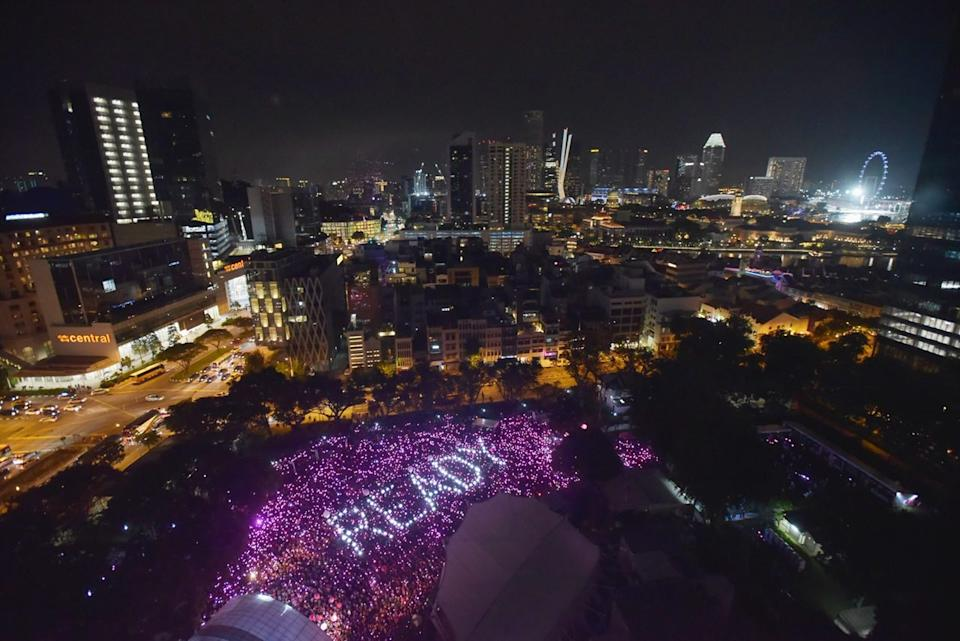 <p>The light up at Pink Dot 2018. (Photo: Stefanus Ian/Yahoo Lifestyle Singapore) </p>