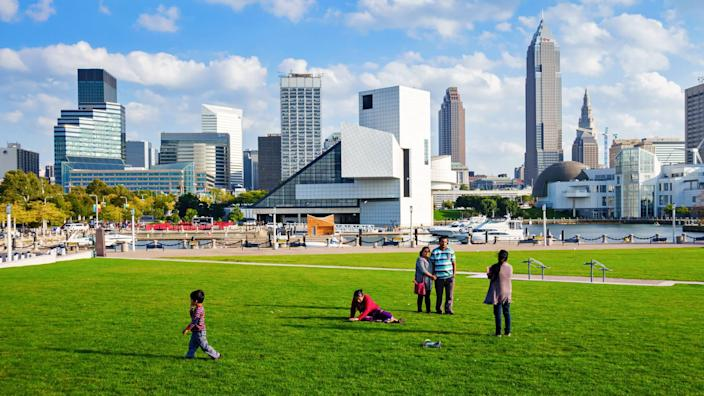 Cleveland, USA - September 20, 2014: A family enjoys a beautiful day at the Voinovich Bicentennial Park in downtown Cleveland, Ohio, USA.