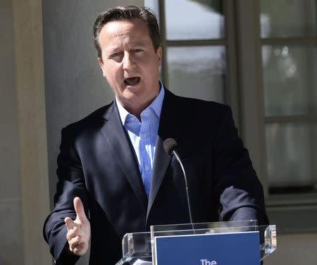 British PM Cameron speaks during a news conference at Swedish PM Reinfeldt's summer residence in Harpsund, south of Stockholm