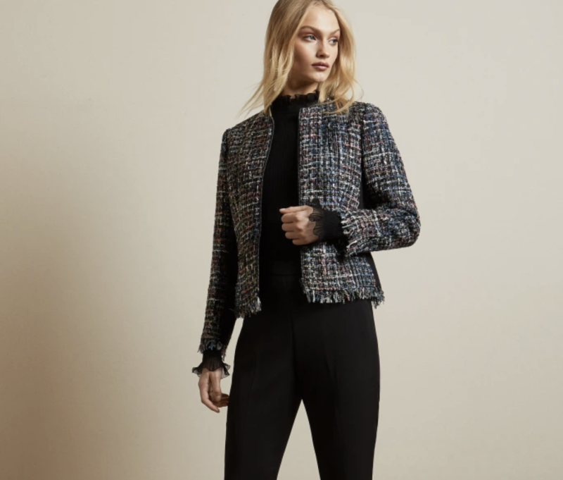 Frayed boucle zip jacket, £99 (was £239). PHOTO: Ted Baker