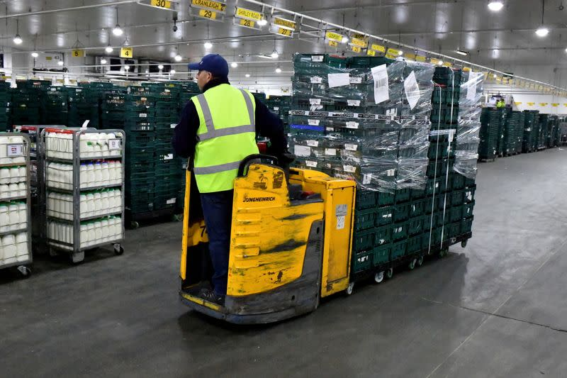 FILE PHOTO: Marks & Spencer cold produce being transported to dispatch area via bladed fork lifts at Gist logistics depot