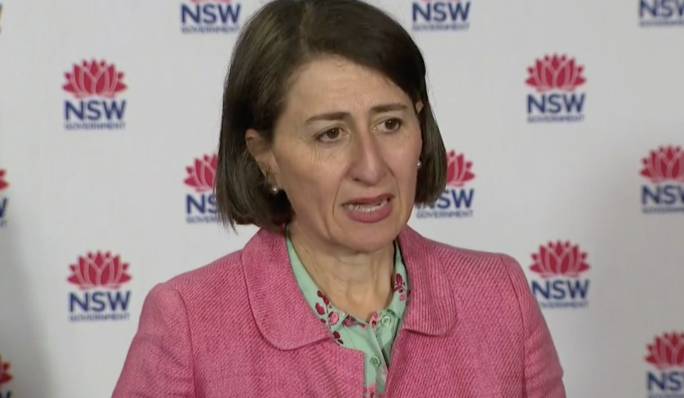 Pictured in NSW Premier Gladys Berejiklian speaking at a press conference regarding the new coronavirus cases in Queensland.