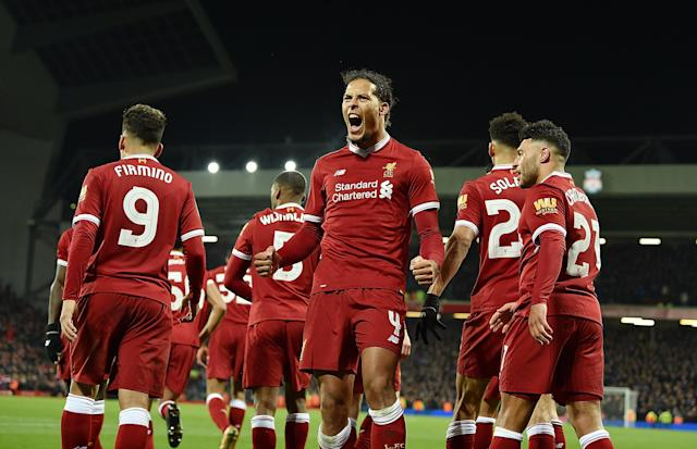"<a class=""link rapid-noclick-resp"" href=""/soccer/players/virgil-van-dijk/"" data-ylk=""slk:Virgil Van Dijk"">Virgil Van Dijk</a> celebrates his goal for <a class=""link rapid-noclick-resp"" href=""/soccer/teams/liverpool/"" data-ylk=""slk:Liverpool"">Liverpool</a> against <a class=""link rapid-noclick-resp"" href=""/soccer/teams/everton/"" data-ylk=""slk:Everton"">Everton</a> in the third round of the FA Cup on Friday. (Getty)"