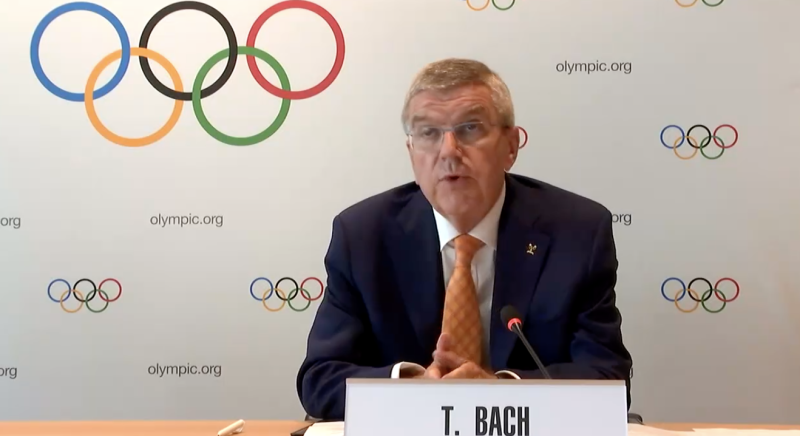 IOC president Thomas Bach speaks to reporters during a teleconference about the Tokyo 2020 Games in Lausanne